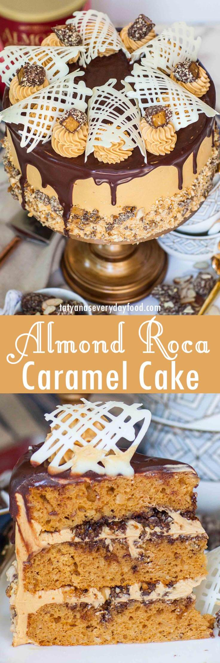 Almond Roca Caramel Cake video recipe