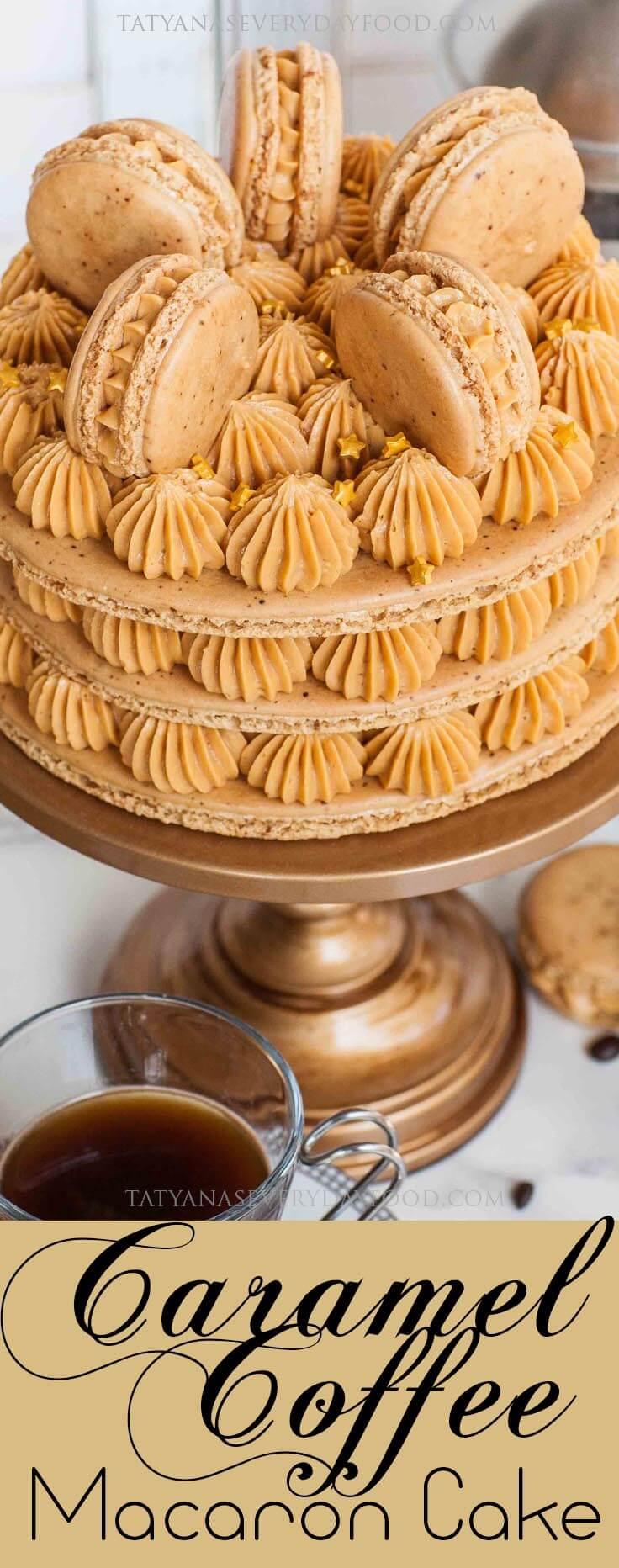 Caramel Coffee Macaron Cake Recipe with video