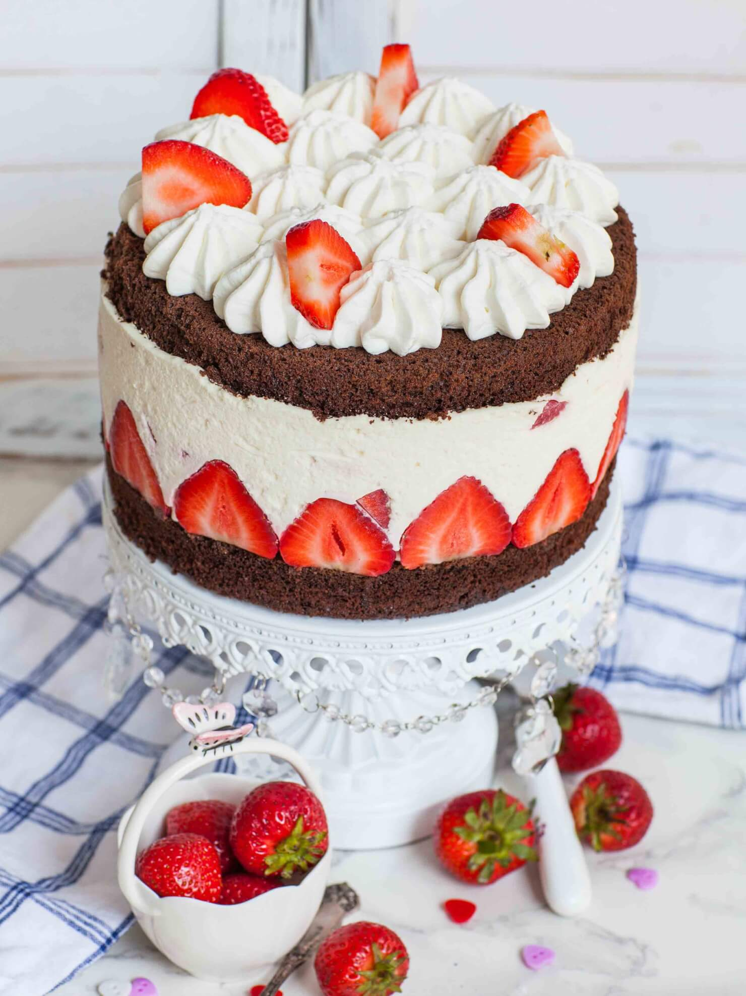 chocolate strawberry fraisier cake recipe with no bake cheesecake