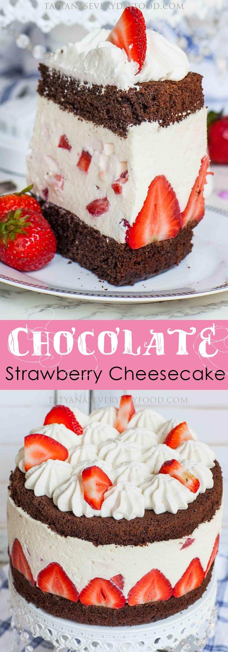 Chocolate Strawberry Fraisier Cheesecake Recipe with video