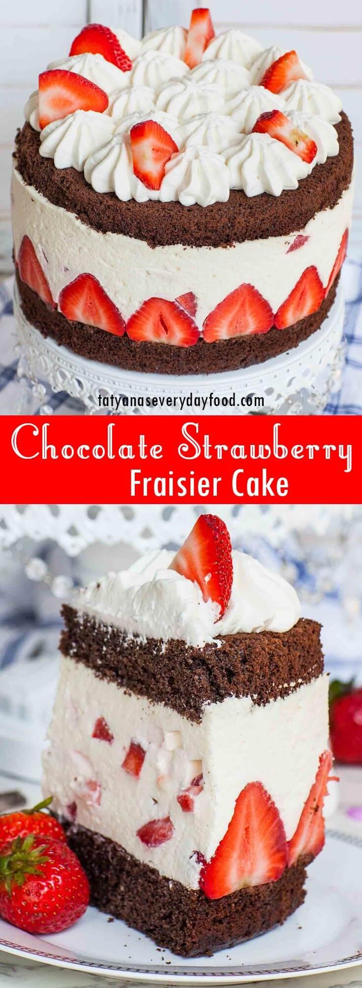 Chocolate Strawberry Fraisier Cake video recipe