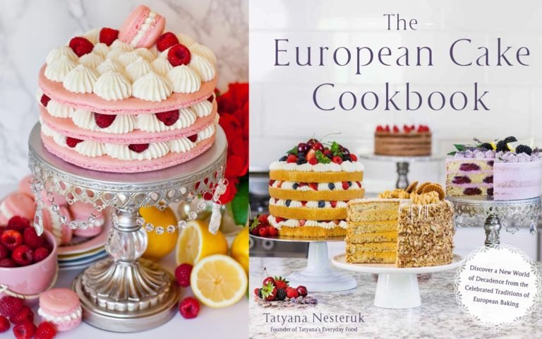 cake cookbook with raspberry macaron cake