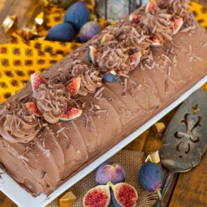 Chocolate Fig Roulade topped with figs