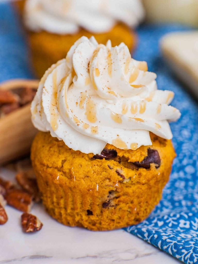 pumpkin cupcake with frosting