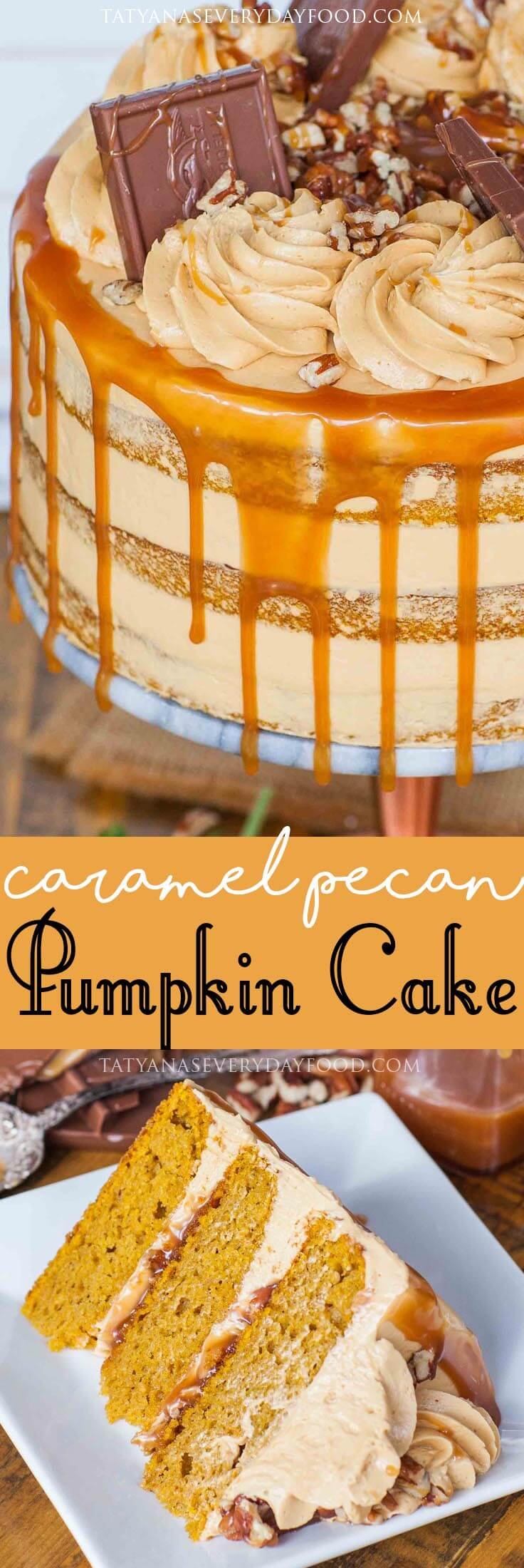 Caramel Pecan Pumpkin Cake recipe with video