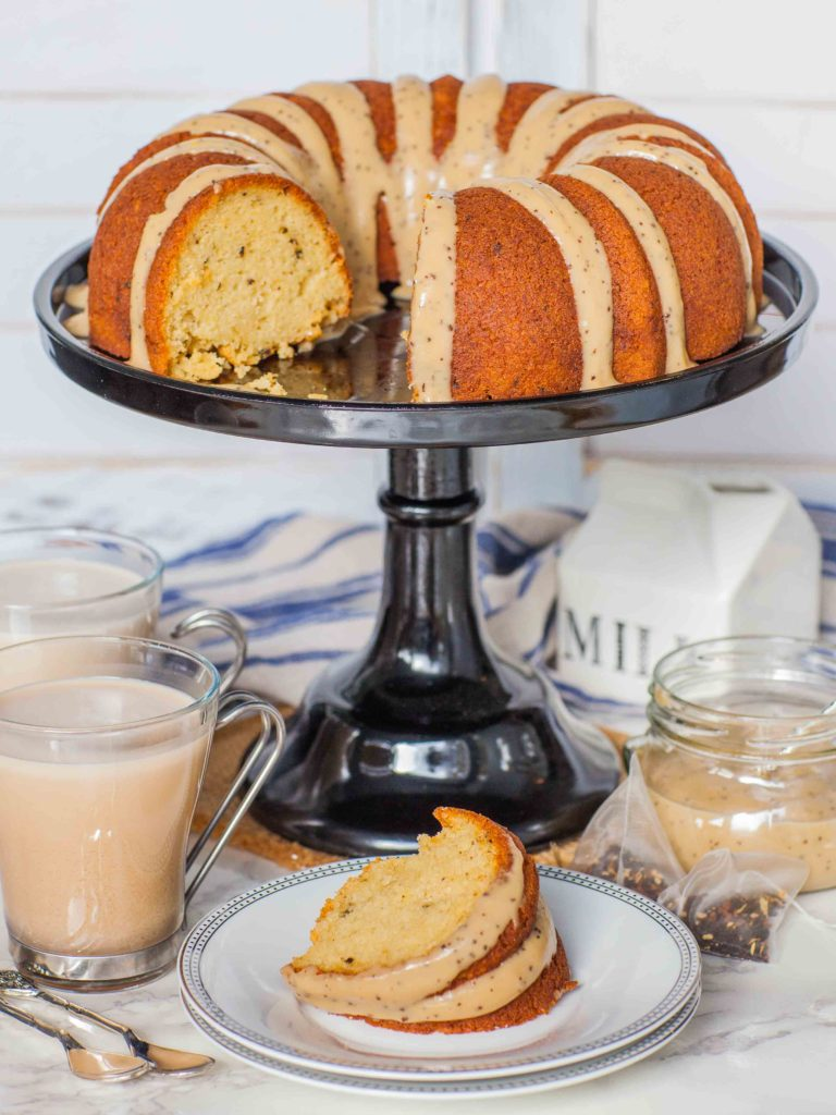 Chai Tea Cake with custard topping