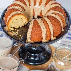 Chai Tea Bundt Cake recipe with custard on black cake stand