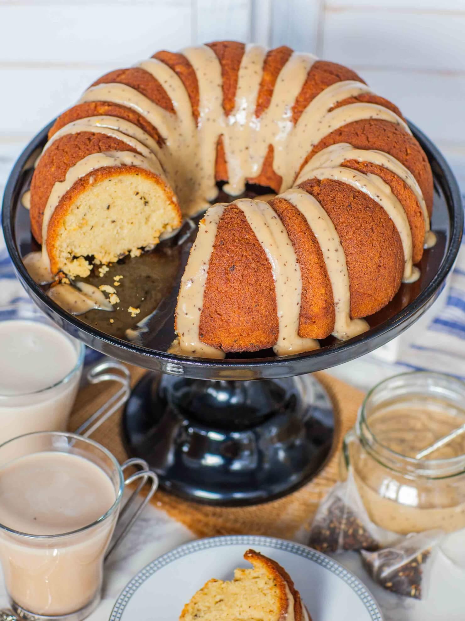 Chai Tea Bundt Cake with custard