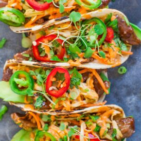 Spicy Korean Beef Tacos with pepper topping