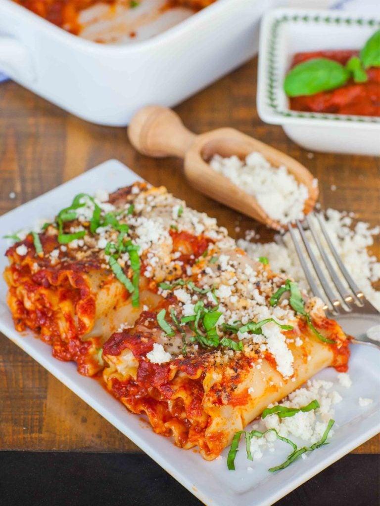 cheese and chorizo lasagna rolls ups on tray