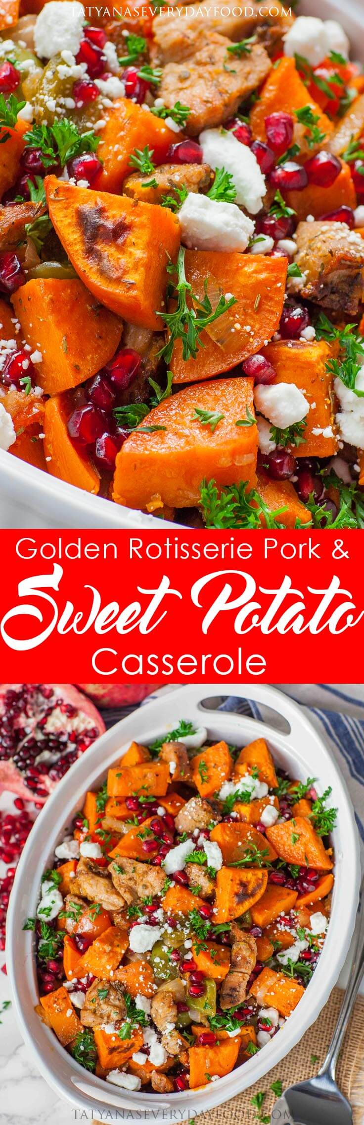 Pork & Sweet Potato Casserole with pomegranate and goat cheese