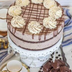 keto chocolate mousse cake with keto whipped cream