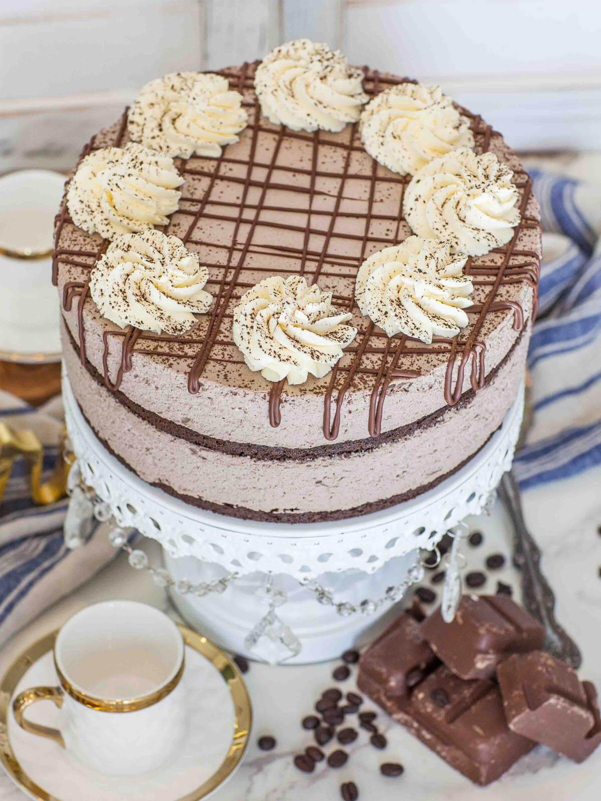 keto chocolate mousse cake with keto whipped cream