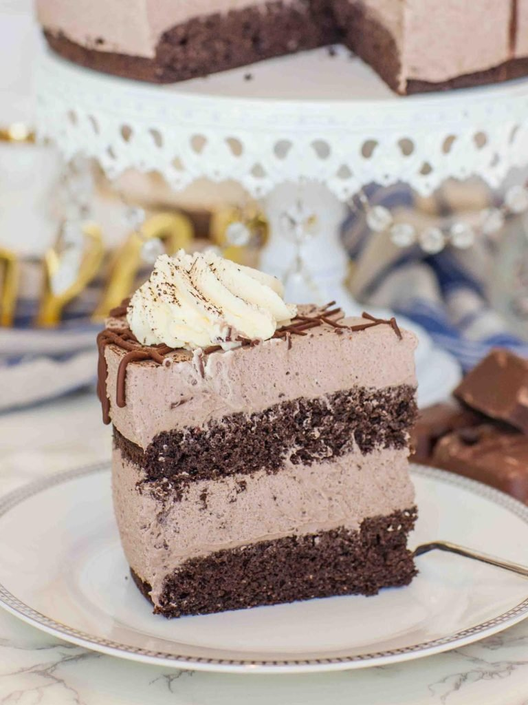 keto chocolate mousse cake sliced on plate