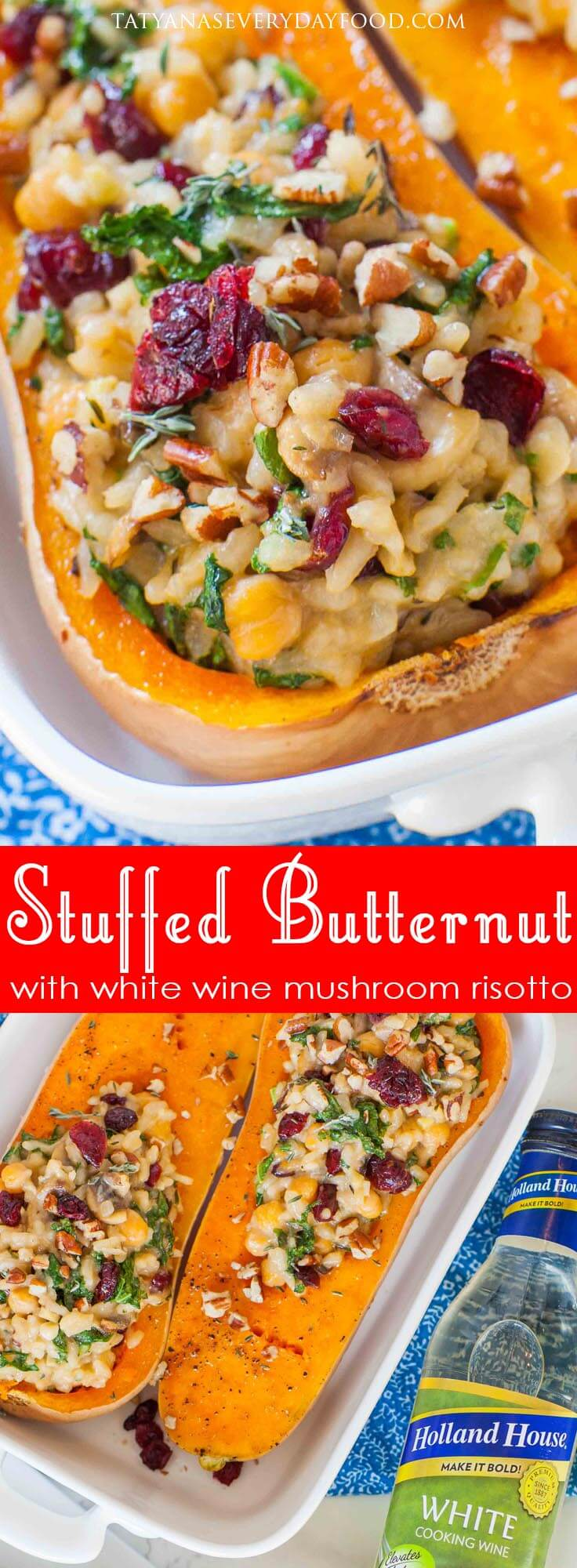 Stuffed Butternut Squash with Holland House white cooking wine mushroom risotto