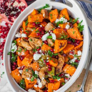 maple glazed pork and sweet potato casserole with pomegranate and goat cheese