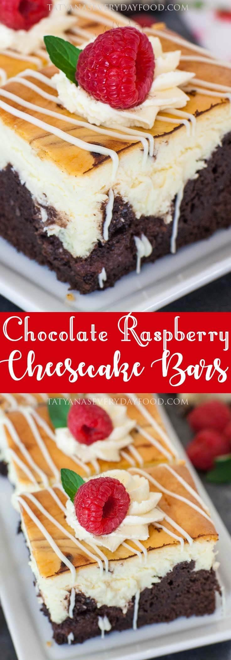 Chocolate Raspberry Cheesecake Bars with video recipe