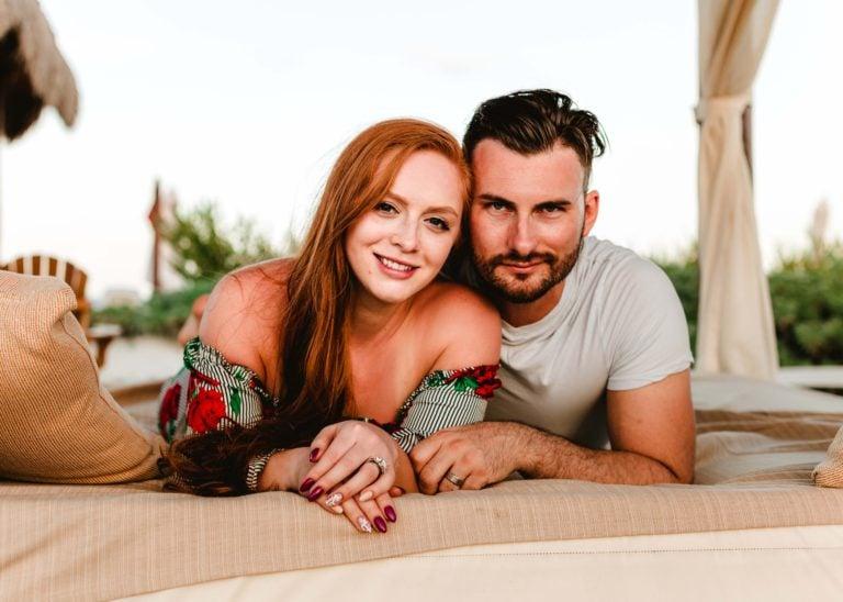 couples in beach cabana
