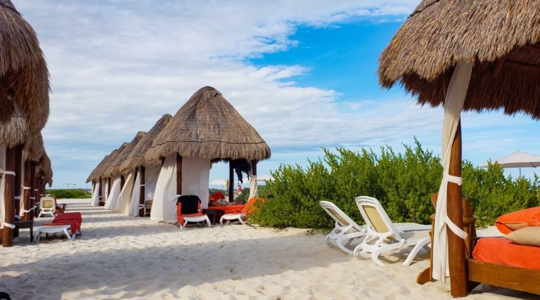 beach cabanas at Secrets Playa Mujeres