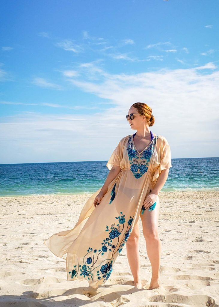 beautiful blue coverup with ocean view