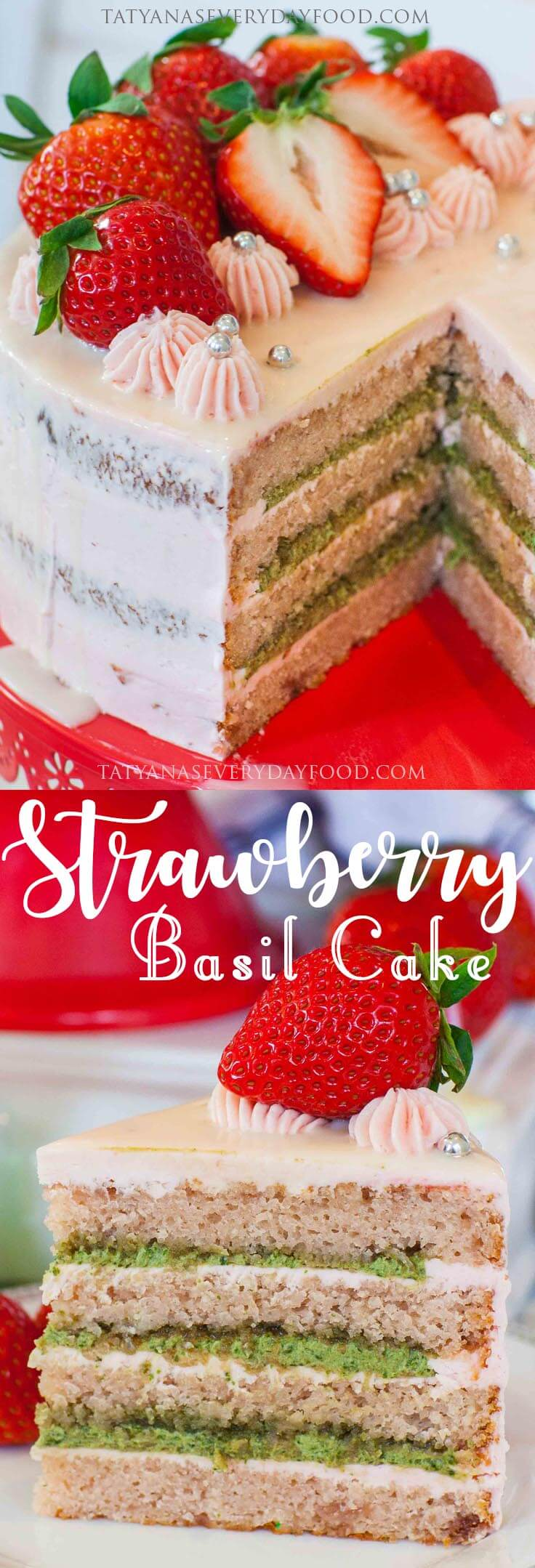 Strawberry Basil Cake with video recipe #ValentinesDay