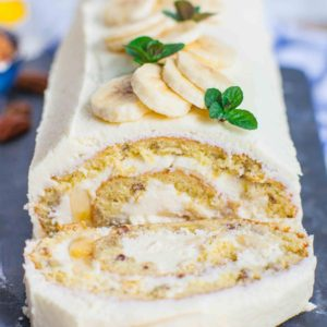 Banana Cream Cake roll with cream cheese frosting