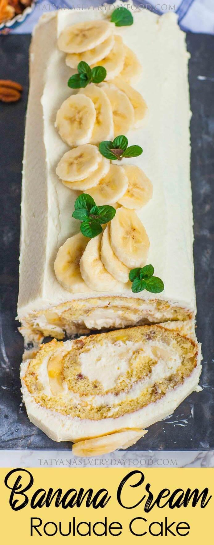 Amazing Banana Cream Cake Roll recipe with video