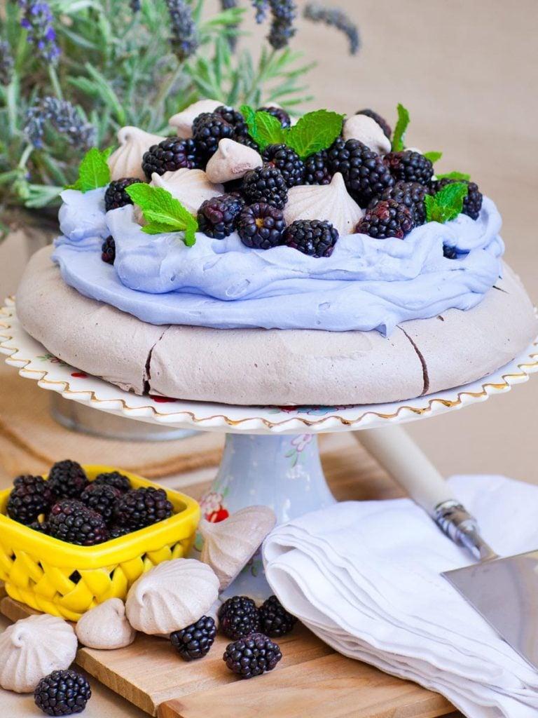 chocolate lavender pavlova with blackberries