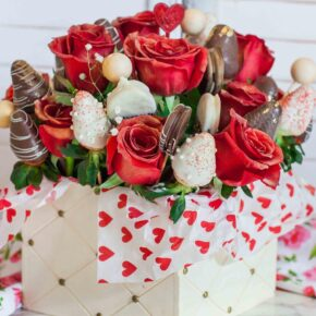 Chocolate strawberry and red rose arrangement for Valentine's Day