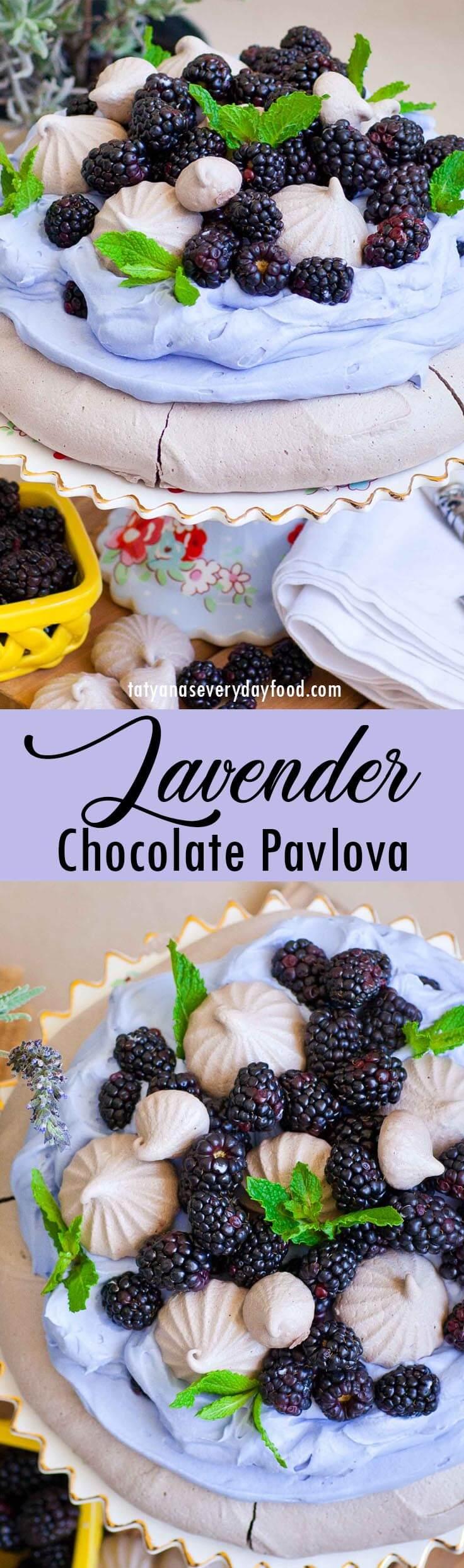 Lavender Chocolate Pavlova with video recipe
