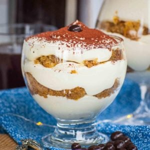 individual tiramisu parfait with cocoa powder