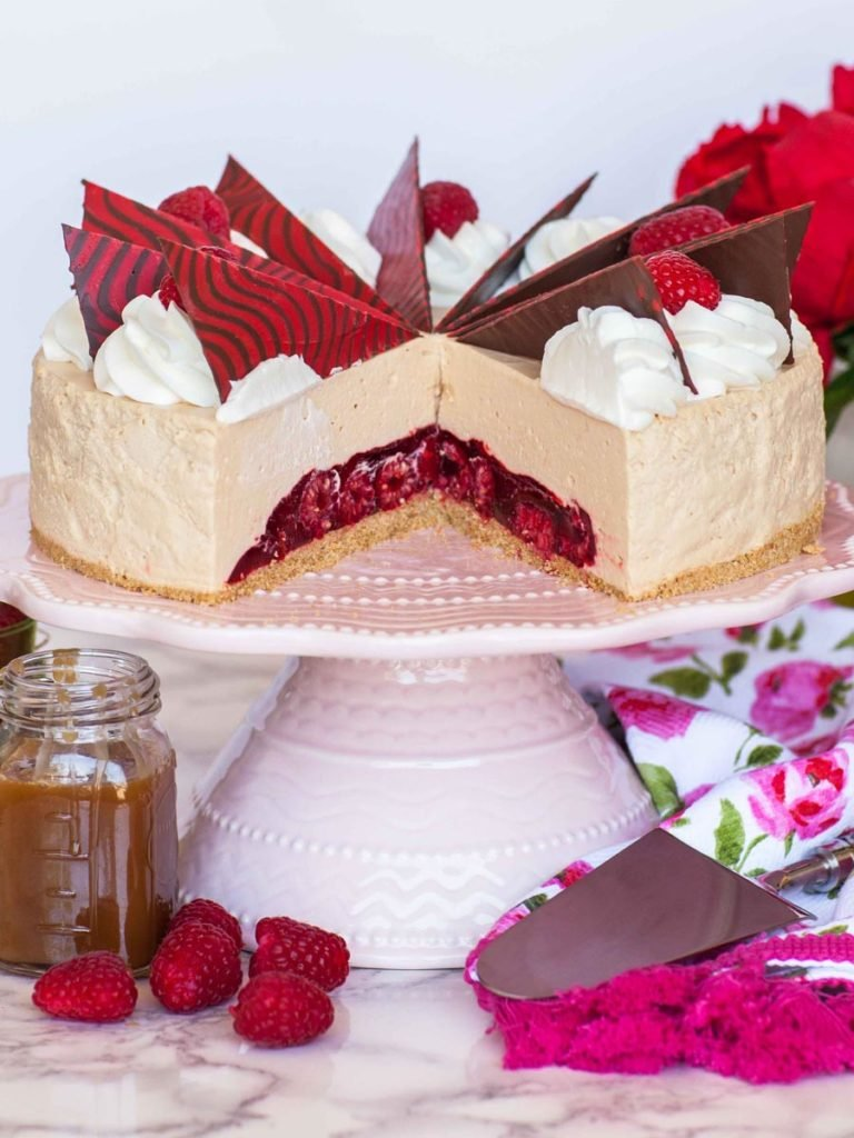 caramel mousse cake with raspberry jello center