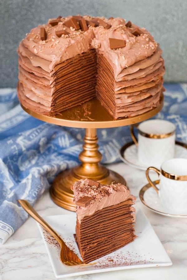 sliced chocolate truffle crepe cake recipe