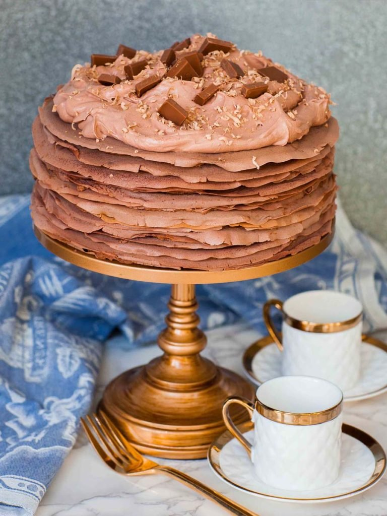 Triple Chocolate Crepe Cake recipe with chocolate whipped cream