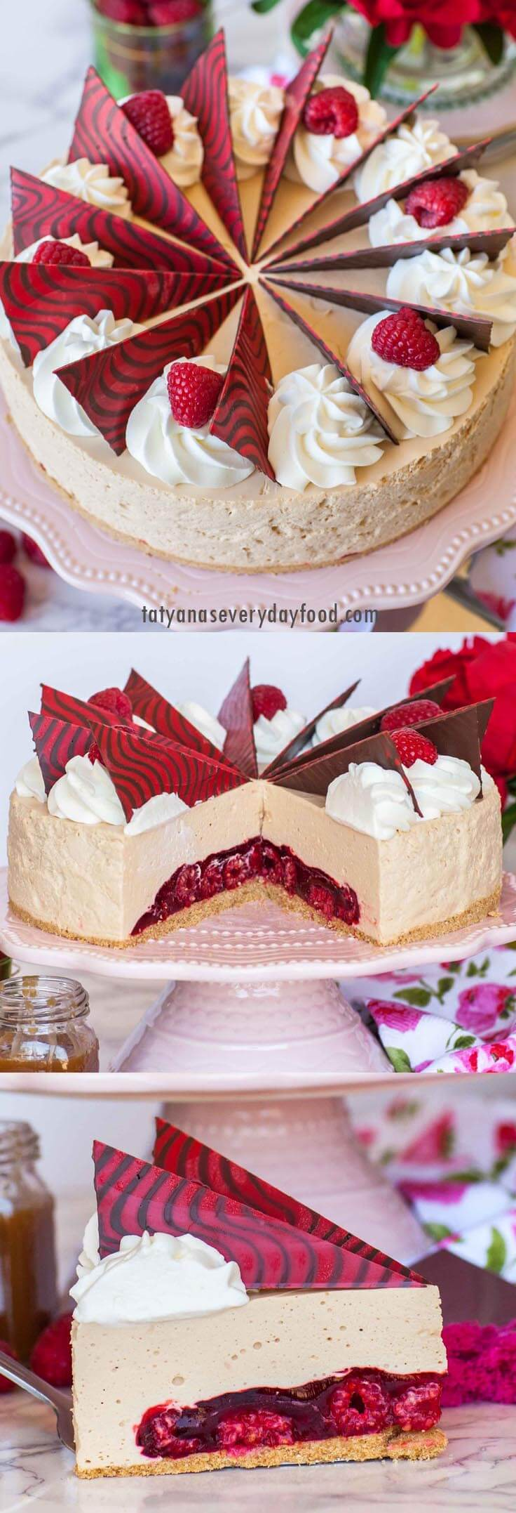 No-Bake Caramel Raspberry Mousse Cake video recipe