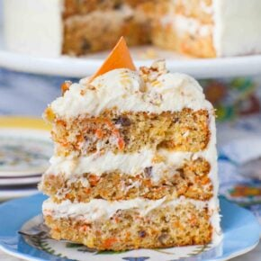 pineapple carrot cake slice with cream cheese frosting