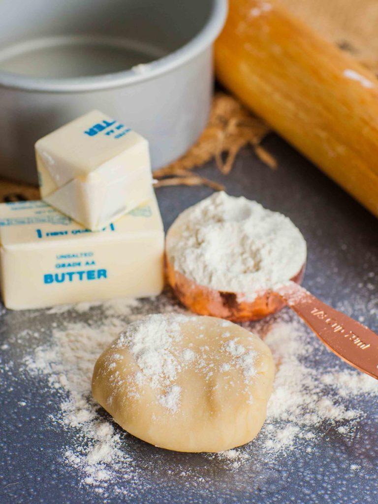 butter pie crust next to flour and butter