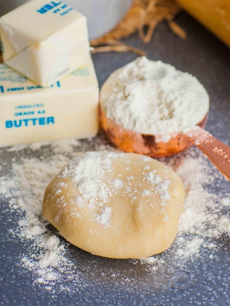 pie crust dough with flour and butter