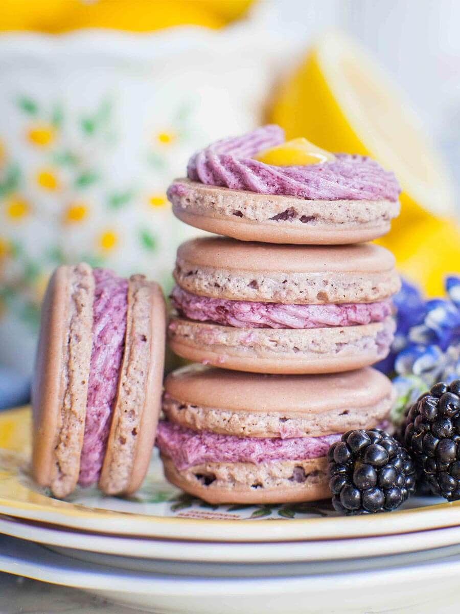 lavender macarons with blackberry buttercream and lemon curd filling