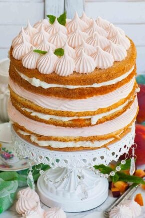 peaches and cream russian cake with peach marshmallow