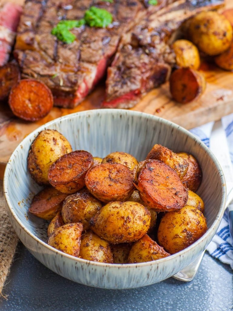 pan-seared baby potatoes with steak