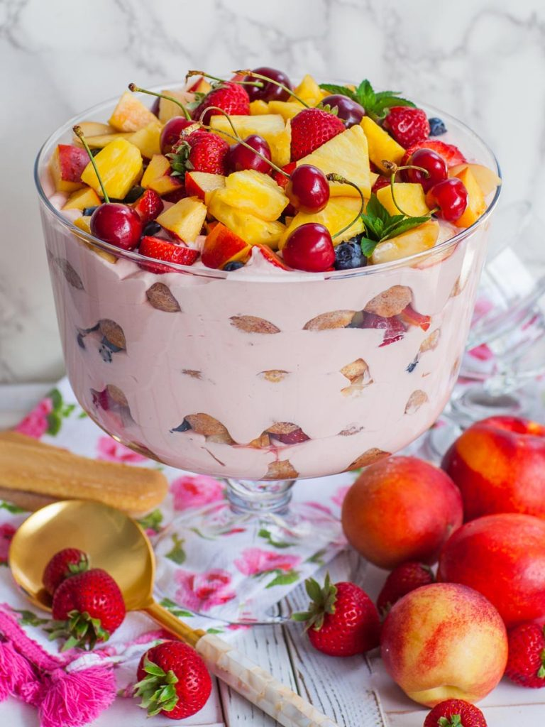berry trifle with nectarines and pineapple