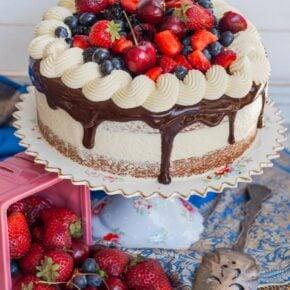 berry almond cake recipe with German buttercream, berries and chocolate ganache