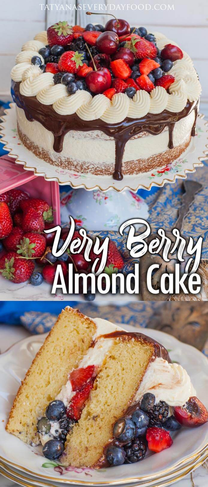 Berry Almond Cake with German Buttercream video recipe