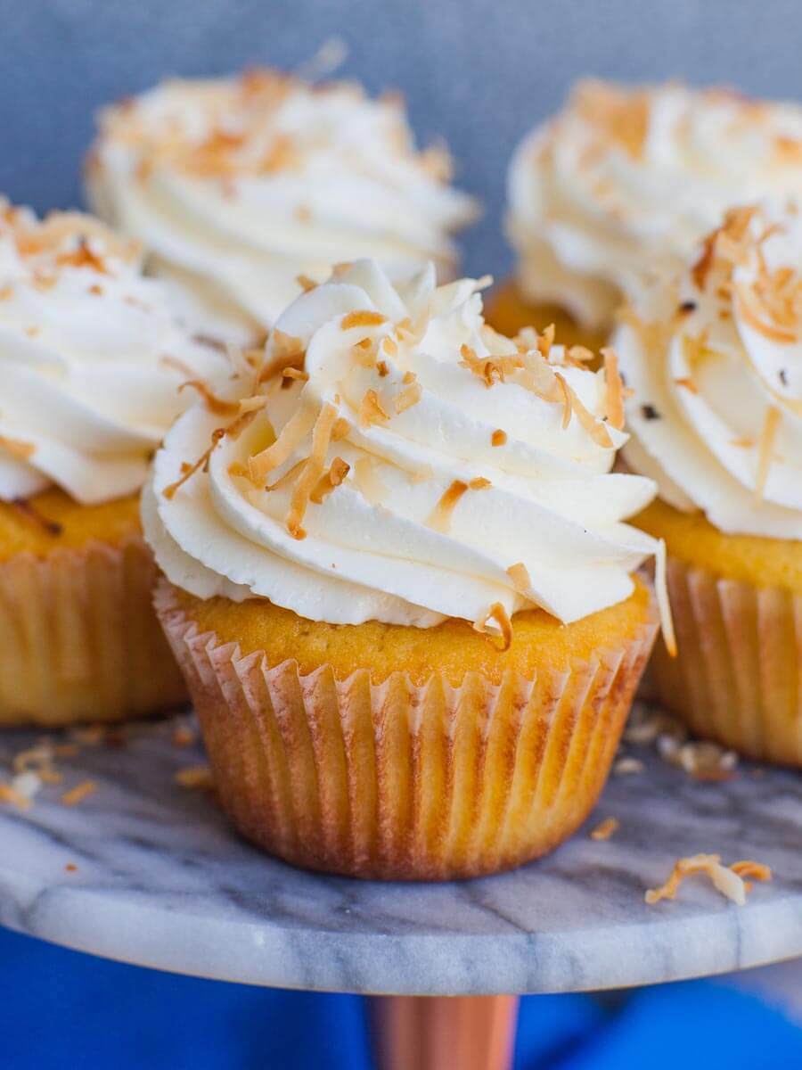 coconut cupcake recipe with Italian meringue coconut buttercream