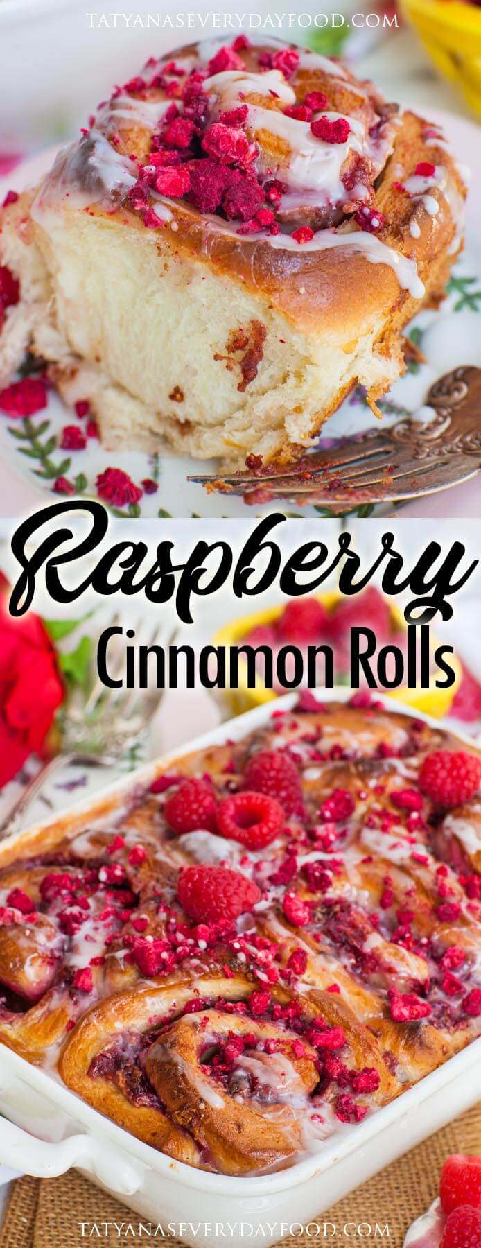 The BEST Raspberry Cinnamon Rolls with cream cheese filling