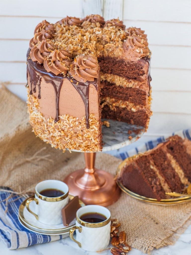 chocolate cake with coconut pecan filling and toasted coconut
