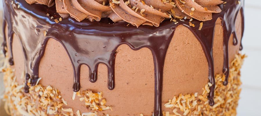 german chocolate cake with chocolate ganache and toasted coconut flakes