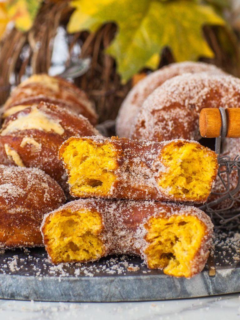 inside of classic pumpkin donut coated in sugar