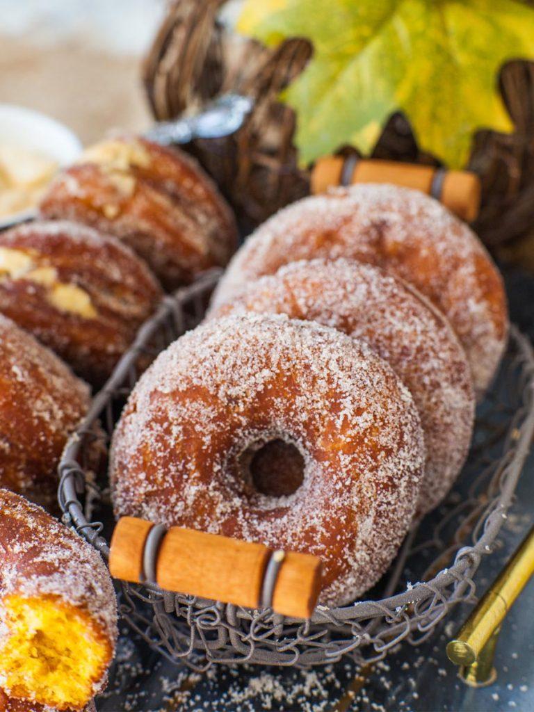 round pumpkin doughnuts, fall desssert